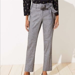 NWT LOFT Gray 00 Tie Waist Pants in Julie Fit